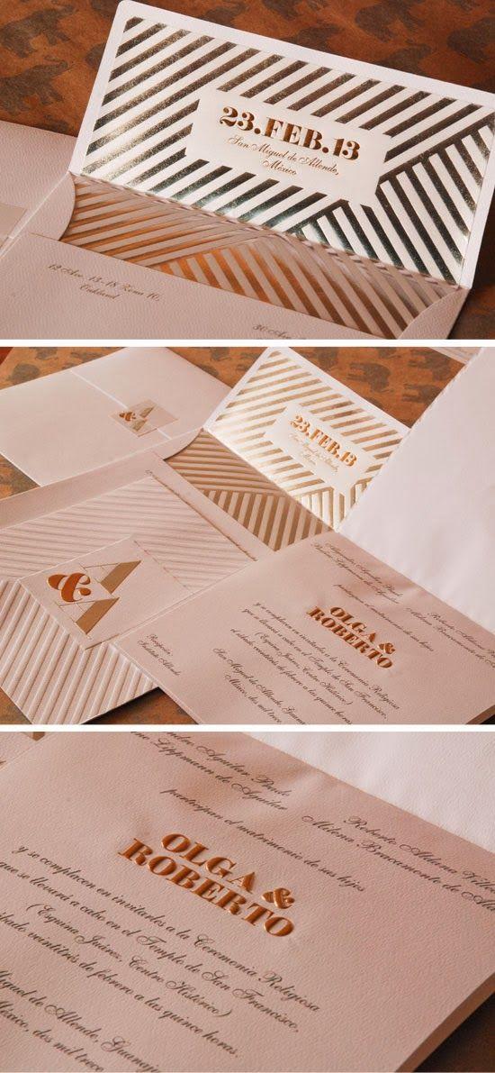 Gold and Silver Foil Embossed Letterpress Wedding