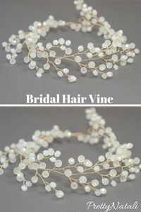 This lovely wedding hair vine is made from crystals and gold color wire. Bridal Crystal headpiece, Crystal Hair Vine, Bridal hair accessories, Wedding Crystal Tiara, Bridal Headband, White Gold Bridal Crown  #crystalheadband #bridalhairvine