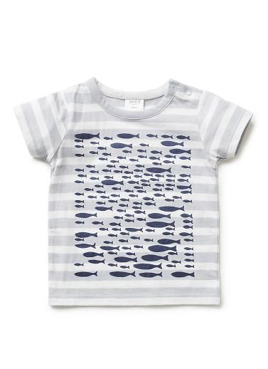 100% Cotton jersey short sleeve tee with front school of fish print and snap closure at side neck.