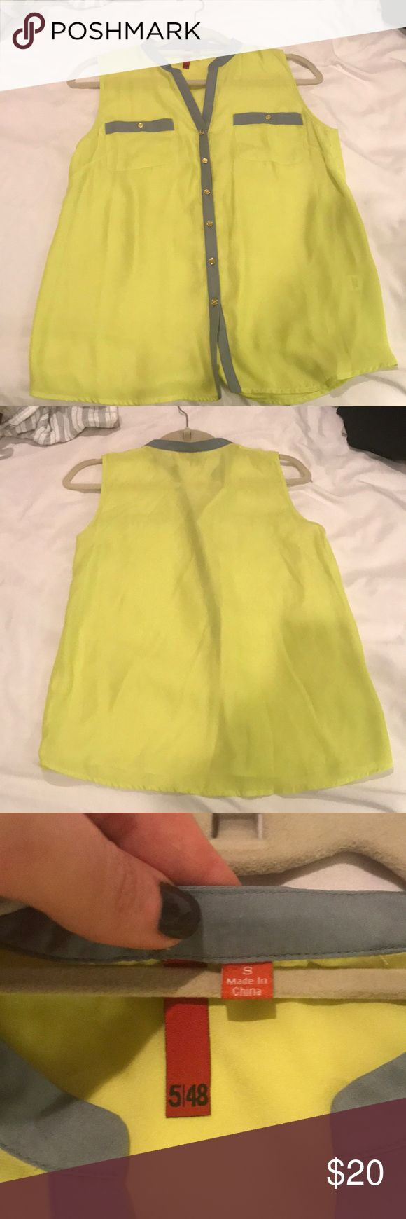 Neon yellow sleeveless top from 5|48 Worn once! Sleeveless neon yellow top with gray and gold accents . 100% poly, says dry clean but I'm sure you can hand wash.  Pictures muting yellow , more of a neon yellow 5|48 Tops Blouses
