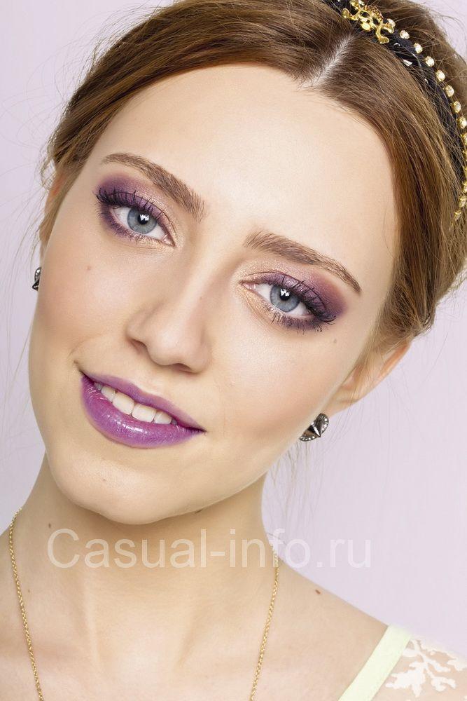 Красивый макияж. Сочетание фиолетового с золотым