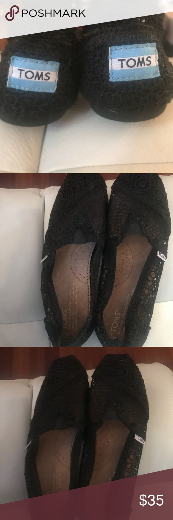Black Lace TOM's Black Lace Tom's. Worn maybe once. In great condition. Toms Shoes Slippers