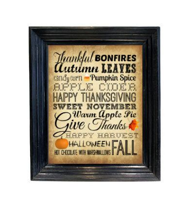 Fall typography printable décor