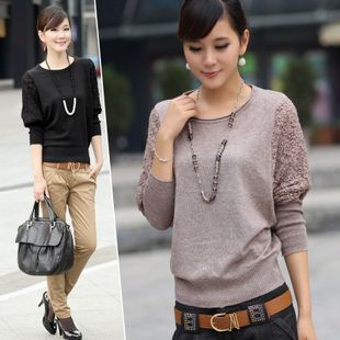 2014 Autumn Women Elegant Batwing Lace Hollow Sleeve Sweater and pullover Shirt Short Design Crew Neck Loose Casual Cardigan