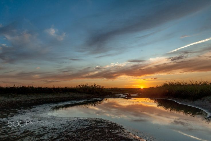 Sunset over the remnants of the water - In 2015, it was a hot summer and some reservoirs have dried up. The picture was taken near the village of Golubitskaya, Temryuk district, Krasnodar Krai, Russia.