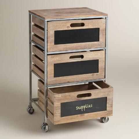 Get your office organized with our on-the-go, easy-to-label storage cart. Three slatted, crate-style drawers with cutout handles and chalkboard fronts keep your supplies chicly sorted.