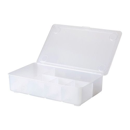 GLIS Box with lid  - IKEA  **For small sewing or craft supplies? I believe you can move the dividers.