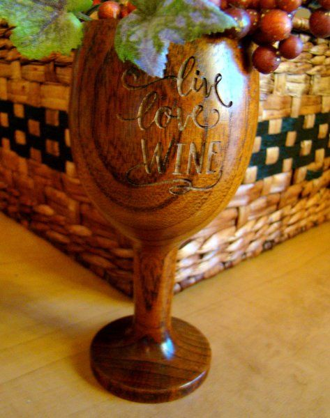 Small 6oz Wood Wine Glass Engraved Personalized
