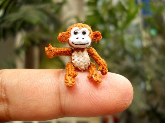 Micro Miniature Monkey - Thread Art Crochet Tiny Stuffed Animals -  Made to Order  (Adorable & genius - this is from the pinner, not the artisan)