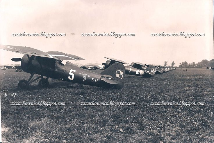 """PZL P.7a, 6.17, """"5"""", 121 Eskadra Myśliwska (121 Fighter Squadron) and PZL P.7a, 6.100, """"1"""", 123 Eskadra Myśliwska (123 Fighter Squadron), Okęcie, Warszawa, 6 August 1935"""