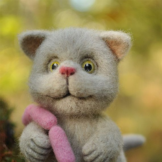 Cat, Christmas gift, Christmas, Felt doll, Miniature, Handmade toys, Needle felting, Felt toys, Figurines, Eco friendly,Personalised  gifts. by KTOWOOLFRIENDS on Etsy