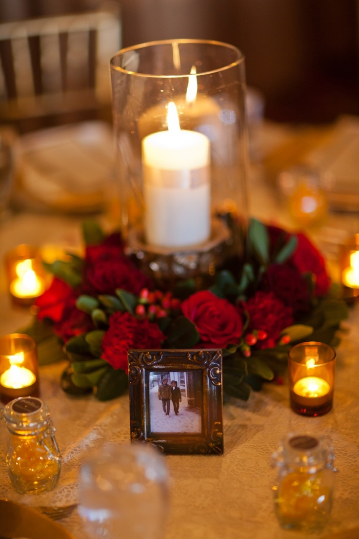 Red and gold floral centerpiece envision weddings