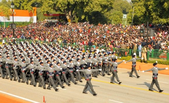 NCC cadets march during Republic Day celebrations, in New Delhi.  https://www.facebook.com/photo.php?fbid=318034414983791
