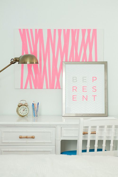 Jess and Mr. Lively introduce some neon pink by way of DIY tape art and a framed print.