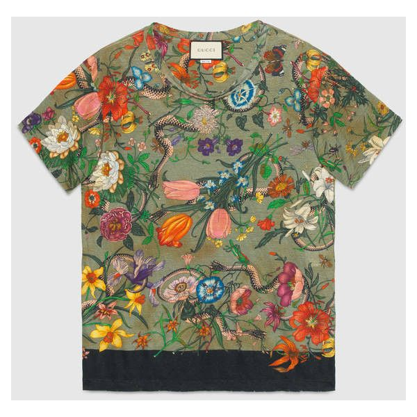 b6c30f5b7 Gucci Flora Snake Print Linen T-Shirt ($680) ❤ liked on Polyvore featuring  men's fashion, men's clothing, men's shirts, men's t-shirts, mens multi  coloured ...