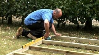 How to build a wooden shed base, via YouTube.