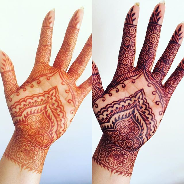 The stain right after I scraped the paste off and then about 18 hours later  this is with no filter just natural light ☀️ love it! ❤️ #henna #hennatattoo #mehndi #mendhi #art #party #pretty #practice #original #instalike #instacool #follow #stain #wedding #nofilter