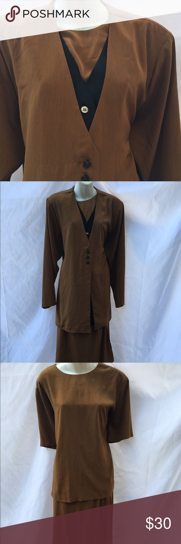 3 Piece Suit Set Brown and black 3 piece suit. Includes jacket, short sleeve shirt, and skirt. Skirt has elastic and jacket has shoulder pads. 100% polyester. ‼️Size 18/20‼️ S.G. Sport Collection Skirts Skirt Sets