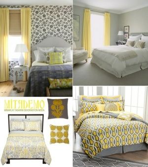 yellow gray bedroom by laurencek yellow curtains
