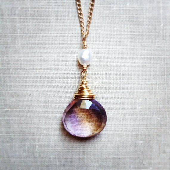 Ametrine Necklace Freshwater Pearl Faceted by karinagracejewelry, $59.00