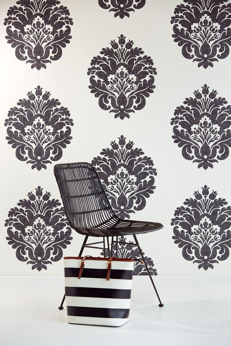 Bloom wallpaper collection by Eijffinger 340051 Bold damask design in classic black & white wallpapershop.com.au