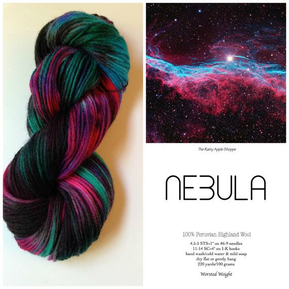 Hand dyed yarn,fingering wool yarn, knitting supplies, crochet supplies, dk weight yarn, black and teal yarn, nebula yarn