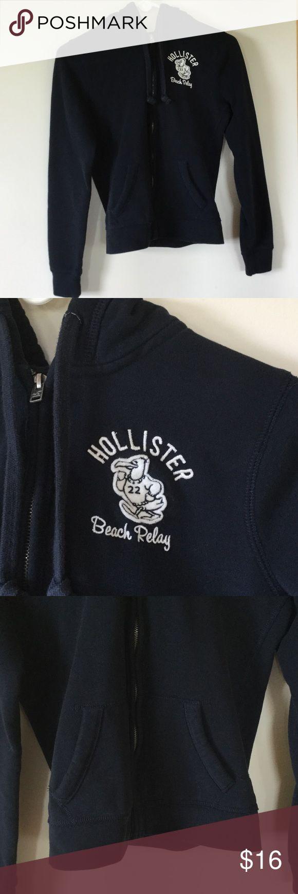 Hollister zip hoodie Navy blue full zip hoodie by Hollister Hollister Tops Sweatshirts & Hoodies