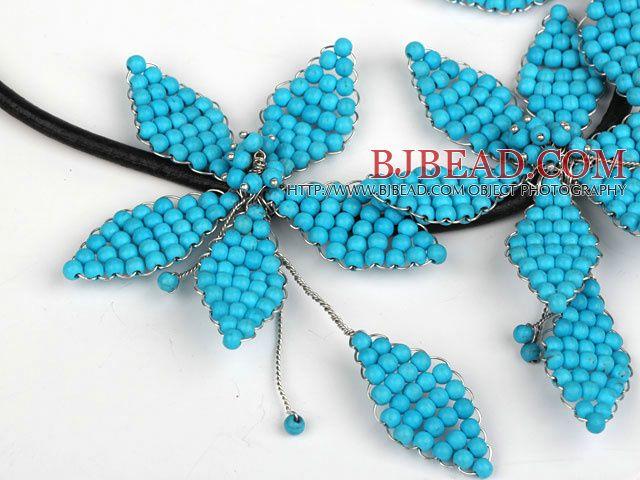 Elegante Stile Blu Turchese Foglia forma di fiore Collana Partito