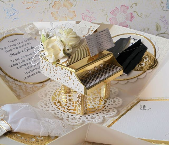 exploding box wedding piano scrapbooking, kartka ślub