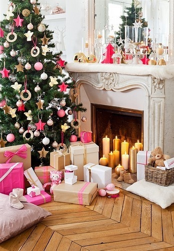 """Decorating for Christmas - This is proof that you don't have to use """"typical"""" colors. I absolutely love the way they used pink with white, some cream, gold, some silver, and red...beautiful!"""