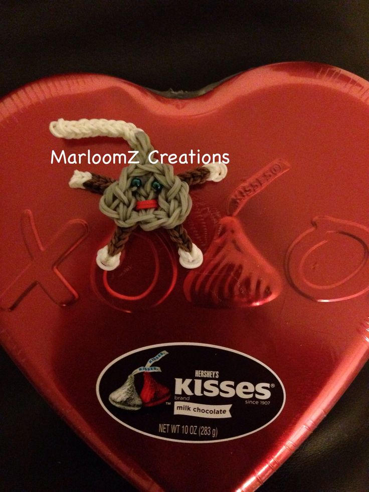 Rainbow Loom HERSHEY KISS Character. Designed and loomed by MarloomZ Creations. Click photo for YouTube tutorial. 03/10/14