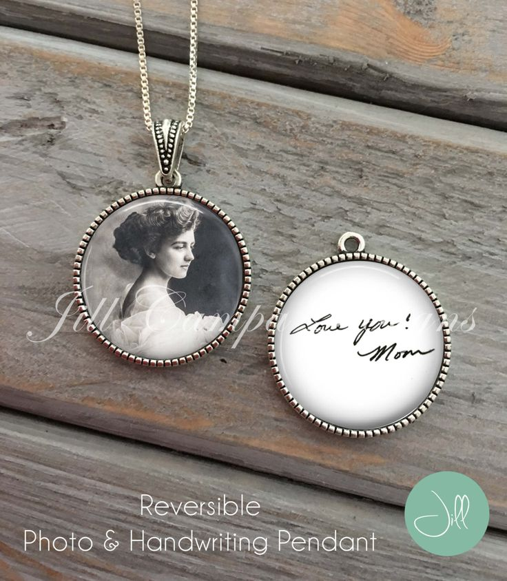 Custom Handwriting Necklace, Handwriting Jewelry, custom photo pendant, Your OWN HANDWRITING & PHOTO , Personalized Gift for Christmas by NowThatsPersonal on Etsy