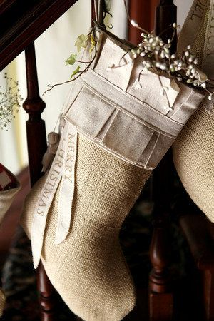Burlap Christmas Stocking, cotton pleats, cotton tassels. $85.00, via Etsy.