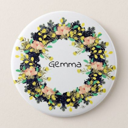 """Wreath """"Pink Yellow"""" Flowers Floral Vector Button - floral style flower flowers stylish diy personalize"""