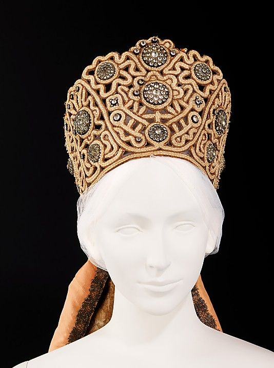 Headdress Date: 1795–1805 Culture: Russian Medium: paper, cotton, silk, metal, glass, pearl