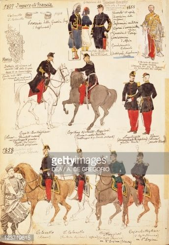 Various uniforms of the Kingdom of France, by Quinto Cenni, color plate, 1857-1858