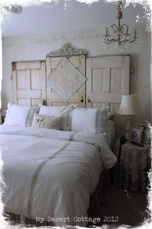 what a great DIY headboard with doors
