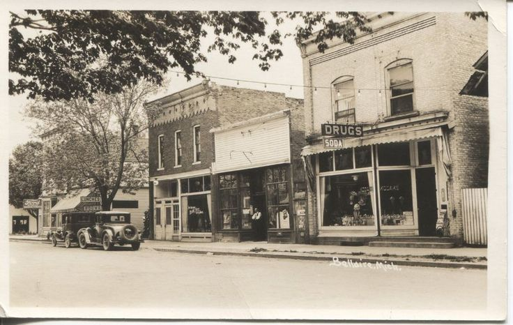 Real Photo Postcard Bellaire Michigan Street Scene Ford