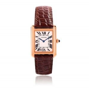 Cartier Tank Solo Steel and Rose Gold Ladies Strap Watch W5200024