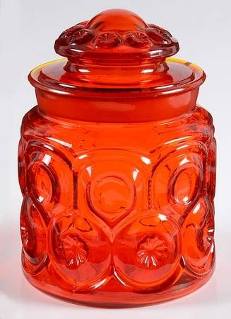 Smith Glass Moon and Stars Red Coffee canister