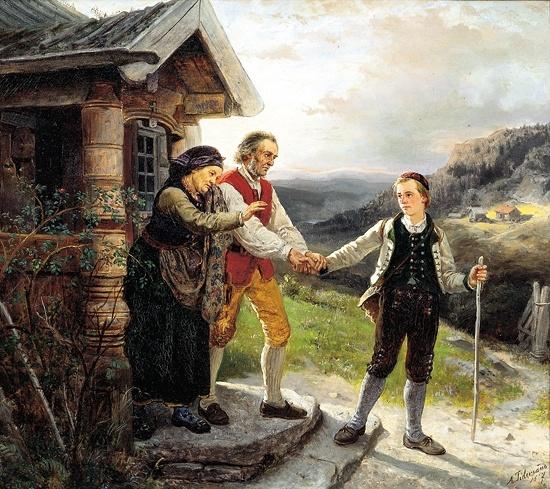 Adolph Tidemand (1814–1876): Den yngste sønns avskjed, 1867