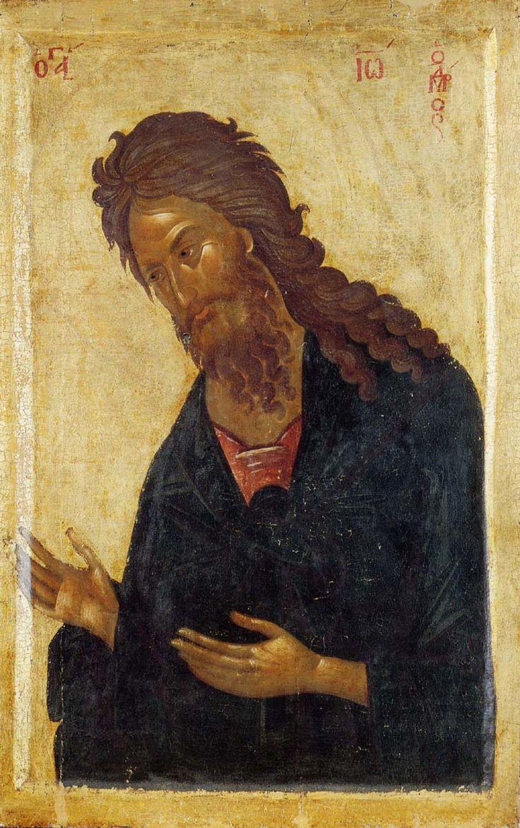 Пророк Иоанн Предтеча. Икона деисусного чина, XIV век. Визаинтия. Сербский монастырь Хиландар