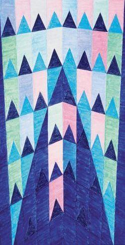 """""""Ogiva Azul"""", uma das muitas utilizações das """"bandeirinhas"""" na obra de Alfredo Volpi"""