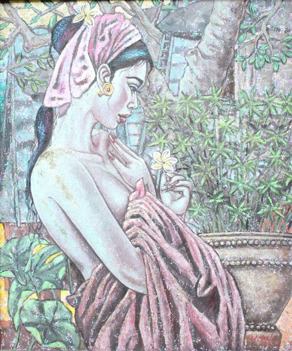 Oil acrylic painting by balinese artist Mohamad by ManMohanMeadow