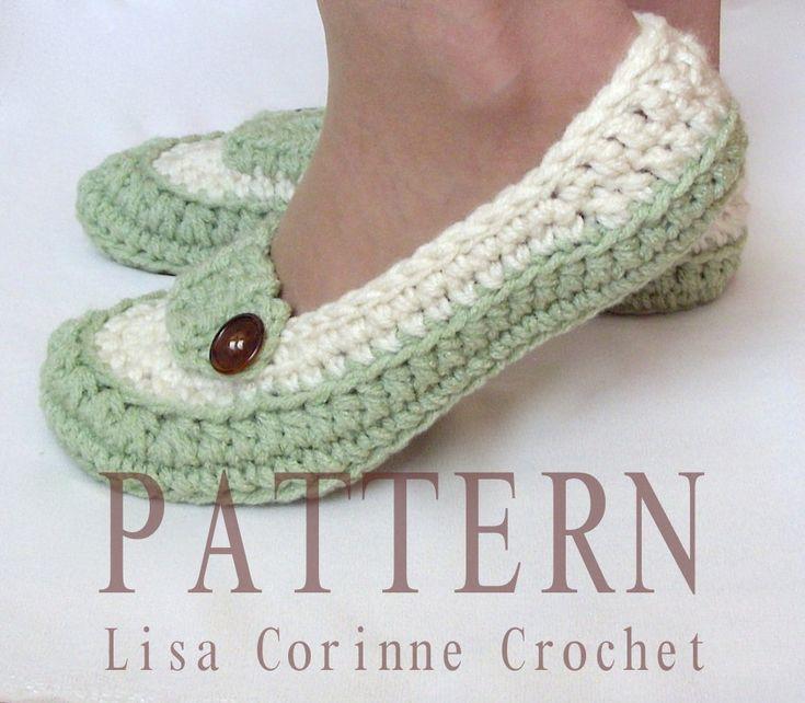 Womens Loafer Slippers - Modern Crochet PATTERN PDF - House Shoe Fashion - Easy Ladies Slipper PATTERN - Crocheted Oxford Shoes. $4.95, via Etsy.