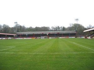 The EBB Stadium at The Recreation Ground, Aldershot Town FC.