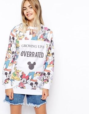 Enlarge ASOS Sweatshirt with Disney Growing Up is Overrated Print