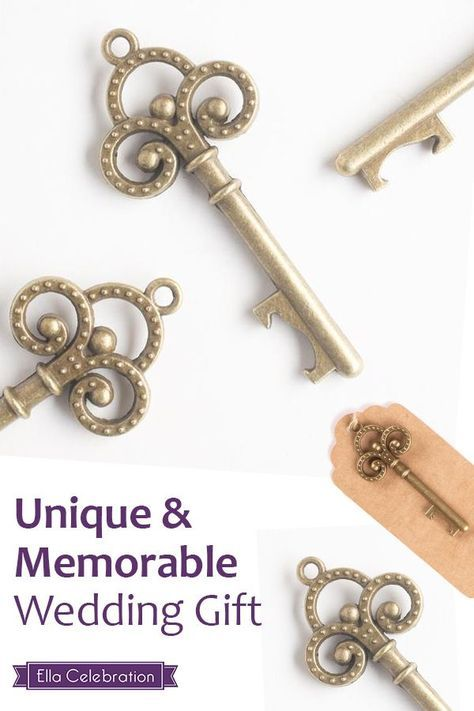 Whether your theme is vintage, classic, rustic or somewhere in between, these party favors will accentuate almost any style with extra flair. Each key is made of sturdy, quality metal alloy and has an antiqued color finish to give them a beautiful vintage look. Purchase these gorgeous keys from Ella Celebration today. | Wedding Favors for Guests | Simple DIY Decorations Souvenirs | Outdoor Backyard Ideas On A Budget | Wedding Shower + Reception Gifts
