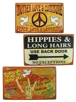 Set of 3 Peace, Love, Hippie Themed Metal Signs 10 In. X 16 In. traditional artwork