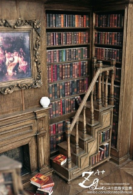 Corner of amazing miniature library room box - 1/12 scale
